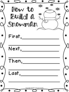 Free how to build a snowman writing activity and craft fun for