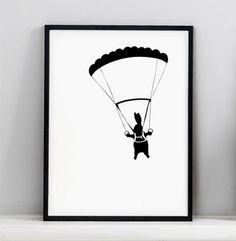 Parachuting Rabbit Print