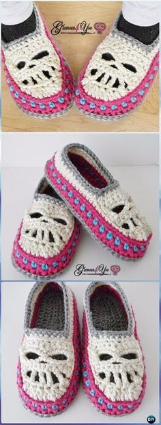 Halloween Crochet Skull Ideas Free Patterns Instructions - - Crochet Glamour Skull Slipper Shoes Paid Pattern – Crochet Skull Ideas Free Patterns Source by allydynamic Crochet Crafts, Crochet Yarn, Crochet Stitches, Crochet Projects, Crochet Fox, Crotchet, Crochet Boots, Crochet Slippers, Crochet Clothes