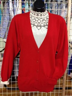 Vintage Red Pringle Cardigan Sweater SZ M L 36 soft Lambswool md in Scotland #Pringle #Cardigan