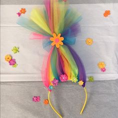 Accessories | Neon Rainbow Troll Hair Headband | Poshmark