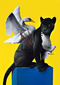 Oddball realism, hyperrealism, surrealism and minimalism Art And Illustration, Swans, Schmuck Online Shop, Graffiti, Street Art, Art Sculpture, Art Archive, Mellow Yellow, Magazine Art