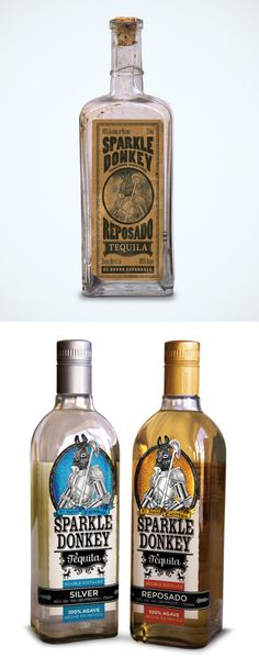 What a shame. Sparkle Donkey Tequila's new bottles are not nearly as cool as the old bottle design they considered.