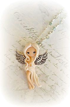 :: Crafty :: Clay :: angel doll neckalce handmade with polimerclay Polymer Clay People, Polymer Clay Figures, Polymer Clay Animals, Polymer Clay Dolls, Polymer Clay Miniatures, Polymer Clay Charms, Polymer Clay Projects, Polymer Clay Creations, Clay Crafts