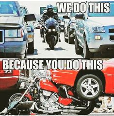 How awesome is it that Ohio recognizes motorcycle safety therefore makes lane splitting LEGAL! Motorcycle Memes, Motorcycle Bike, Motorcycle Wedding, Motorcycle Outfit, Bike Humor, Car Humor, Motocross Funny, Dirt Bike Quotes, Funny Car Memes