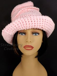 Crochet Hat Womens Hat Womens Crochet Hat Steampunk Hat Crochet Wide Brim Hat Women Soft Pink Hat VIRGINIA Wide Brim Hat 55.00 USD by #strawberrycouture on #Etsy - MUST SEE!
