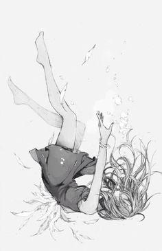 Anime Girl falling underwater | Black and White | Monochrome