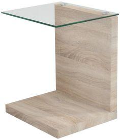 AC Design Furniture 49358 Beistelltisch Michel Sonoma Eiche Nachbildung Klarglas Ca 40