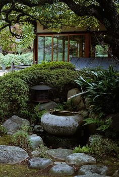 Japanese garden -- I like the way they used the leafy hedge behind the lantern to create a division of space.