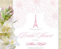 Sweet Parisian Floral Bridal Shower Invitation, Printable Bridal Shower Invitation, Brunch Bridal Shower Invitation Template, Eiffel Tower