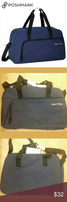 """☆New Listing☆ Nautica Duffle Bag Brand new with tags dark blue duffle bag (see  images 2 and 3). Has dual handle and sholder straps. One main exterior pocket. Material: nylon-like/vinyl interior. Approximate measurements: 17""""l x 10""""d x 7.5""""w. Nautica Bags Travel Bags"""