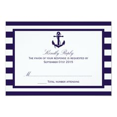 The Nautical Anchor Navy Stripe Wedding Collection 3.5x5 Paper Invitation Card