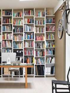 Modern home office pictures and photos for your next decorating project. Find inspiration from of beautiful living room images Contemporary Home Office, Floor To Ceiling Bookshelves, Home, House Design, Bookcase, Shelves, Modern Home Office, Living Etc, Ideal Home
