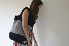 Summer Bag and Crochet bag Made to order Black Grey by Notforeat