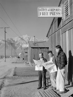 Roy Takeno, Editor, and Group, Manzanar Relocation Center, California Premium Poster by Ansel Adams at Art.co.uk