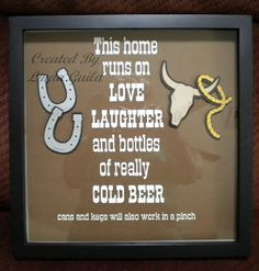 cow skull and lariat images are on the Old West cartridge. Since this is a shadowbox frame, I u. Diy Mini Album, Mini Albums, Drinks Alcohol Recipes, Alcoholic Drinks, Drink Recipes, Alcohol Signs, Homemade Beer, Beer Signs, Western Theme
