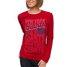 NFL New York Giants Womens Team Repeat Long Sleeve T-Shirt - Red by Junk Food. $22.95. New York Giants Womens Team Repeat Long Sleeve T-Shirt - RedLightweight long sleeve teeRib-knit collarOfficially licensed NFL productScreen print graphicsImportedTagless collar100% Cotton100% CottonTagless collarScreen print graphicsLightweight long sleeve teeRib-knit collarImportedOfficially licensed NFL product