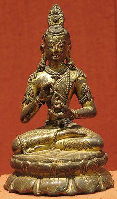 Bodhisattva. Nepal (Kathmandu Valley), 12th century. Gilt-copper alloy, h. cm. 10.2. New York, The Metropolitan Museum.