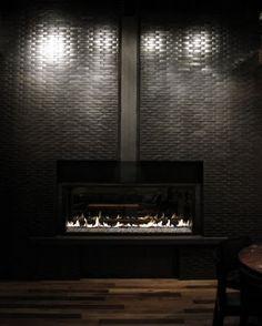 Metal tiled fireplace