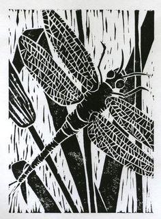 #linoprints | Dargonfly print 5x7 black original linocut insect art black. $16.00, via Etsy.