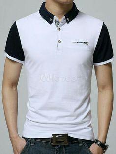 White Polo Shirt Chic Cotton Polo Shirt for Men Polo Shirt Outfits, Mens Polo T Shirts, Polo Tees, Fashion Wear, Mens Fashion, Polo Shirt Design, Le Polo, Summer Outfits Men, Shirt Designs