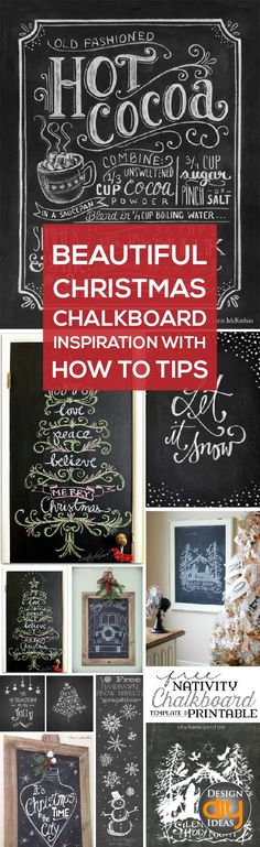 Check out these beautiful Christmas chalkboard ideas with how to tips for beginners!
