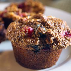 This bran muffin is not only delicious, but healthy. It's loaded with berries, grains, and whole brans. Sweetened with honey and molasses.