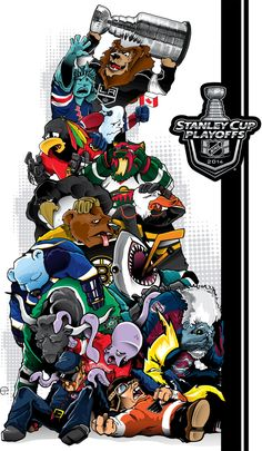 Cool Hockey Cartoon with Bailey on Top with the Stanley Cup! Montreal Canadiens, Creative Logo, Baseball Playoffs, Football, Dodgers, Nhl Logos, Sports Logos, Hockey Logos, Sports Art