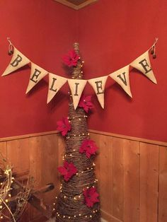 "Christmas ""Believe""  Burlap Banner by CranberryCornstalk on Etsy https://www.etsy.com/listing/211059218/christmas-believe-burlap-banner"