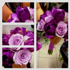 A bouquet of purple roses and tulips Brighten up your special day with a hint of purple #bouquet #wedding #flower #love