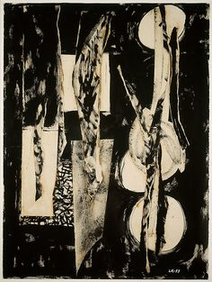 Lee Krasner, Black and White, Oil paint, gouache, cut & torn painted paper with adhesive residue on cream laid paper. Jackson Pollock, Drawing Artist, Painting & Drawing, Lee Krasner, Abstract Expressionism Art, Abstract Paintings, Abstract Canvas, Foundation, Black And White Abstract