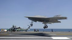 US Navy's unmanned X-47B on a touch and go on aircraft carrier trials. USN/Northrop-Grumman.