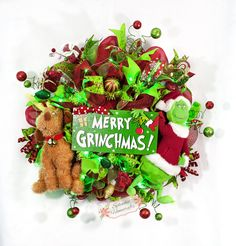 Whimsical Light up Grinch Christmas Wreath by Splendid Homecrafts on Etsy