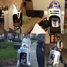 Best Halloween costume idea for a kid in a stroller.  Plus, isn't it every dads dream to push around a life size r2d2?  Star Wars for the win.