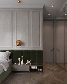 """Один из способов украсить стену с кроватью - """"растянуть"""" изголовье во всю стену ✨ Как вам сочетание серого и зеленого? Идеально, правда? #вдохновение_studio_space #LuxuryBeddingLayout"""