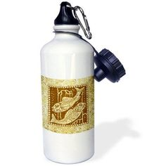 3dRose Zodiacal Constellation Pisces, Gold and Brown Design, Sports Water Bottle, 21oz