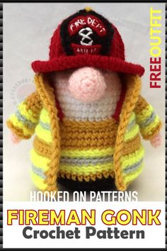 Cute Crochet Patterns Fireman Crochet Pattern Outfit - Free Crochet Patterns Doll - This is the free outfit crochet pattern for Adam Gonk of my A Gonk's Journey. Free Gonk Crochet Pattern for Fireman's outfit, jacket and 2 helmets. Doll Patterns Free, Modern Crochet Patterns, Crochet Patterns Amigurumi, Crochet Blanket Patterns, Crochet Stitches, Crochet Amigurumi, Crochet Dolls, Crochet Snowman, Crochet Gifts