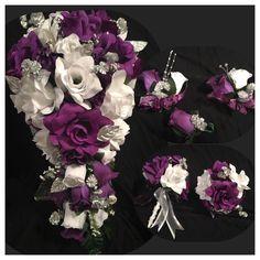 Wedding Flowers Purple White Silver Babies Breath Bridal Bouquet Package 21 pc  | eBay