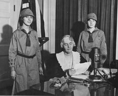 """It's Girl Scout Cookie Day, so in honor of this delicious """"holiday,"""" we're sharing this photo of First Lady Lou Hoover. Lou was very involved with the Girls Scouts. She was a troop leader and later a board member. Lou received her investiture pin from Girl Scout Founder Juliette Gordon Low in 1917 when she was installed as the Acting Commissioner of the Washington, DC, Girl Scout Council. In this photo from the Hoover Library, Lou is speaking from the President's Study in the White House on…"""