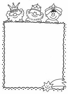 Carta reyes Christmas Colors, Kids Christmas, Christmas Crafts, Borders For Paper, Borders And Frames, Christmas Activities, Christmas Printables, Page Borders, Sunday School