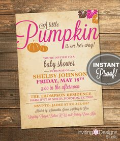 Pumpkin Baby Shower Invitation, Fall, Baby Girl, Autumn, Leaves, Pink, Orange…