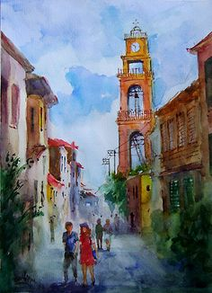 Church Street in Bozcaada   Original Watercolor by Faruk Koksal