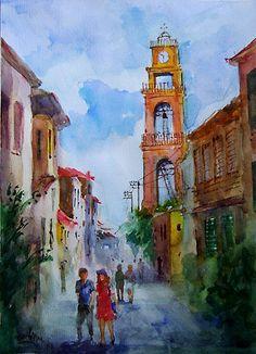 Church Street in Bozcaada   Original Watercolor by Faruk Koksal
