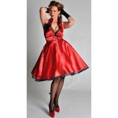 Déguisement Lola chic femme, Costume robe rouge noire en satin avec fleur, années 20-30, fêtes, nouvel an.