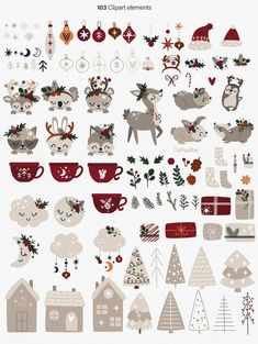 Christmas Tree Clipart, Christmas Animals, Christmas Svg, Christmas Tree Decorations, Christmas Cookies, Scandi Christmas, Woodland Christmas, Baby Shower Clipart, Rainbow Clipart