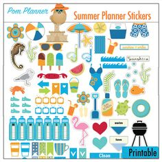 INTRO SALE Summer Planner Stickers Beach Bliss Kit 5 PDF, 300 Summer Stickers Pool, BBQ summer clip art EC Happy Planner If you want these shipped to you order the Add On Printing $2 per page service at https://www.etsy.com/listing/295218647 Five 8.5x11 pages PACKED full of SUMMER Planner Stickers with beach clip art, suntan lotion, towel, BBQ grill, sunglasses, beach umbrella, crab, lobster, seahorse, shovel, water bottles, See matching freebies with Bible Journaling Margin Strip at…