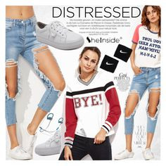 """""""True Blue: Distressed Denim"""" by vanjazivadinovic ❤ liked on Polyvore featuring Rika, WithChic, Whiteley, NIKE, Beats by Dr. Dre, Sheinside, distresseddenim, polyvoreeditorial and winterboots"""