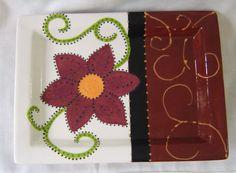 Ceramic Small Tray/ Serving Plate  Flower, Swirls, Brown, Maroon