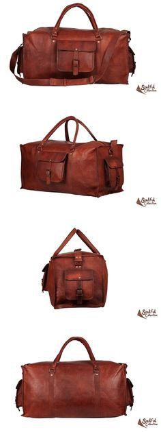 "Mens Leather Duffle Bag 22"""