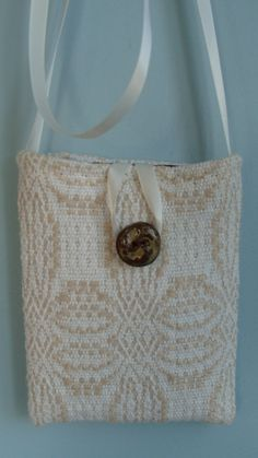 Small Handwoven Purse with Handmade Button by barefootweaver, $42.00